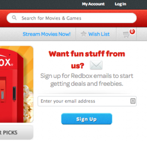 Red Box home screen